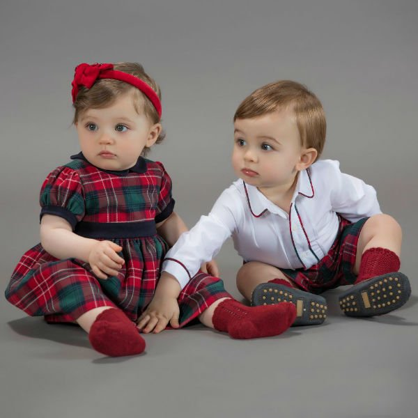 PATACHOU Girls Red Tartan Dress & Boys Tartan Shorts