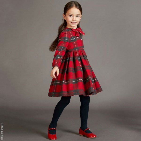 DOLCE & GABBANA Girls Red Tartan Dress