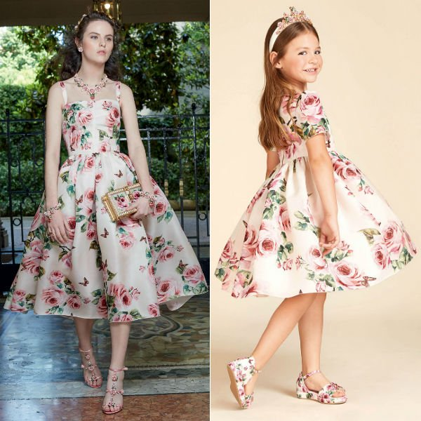 DOLCE & GABBANA Girls Mini Me Christmas Theme Rose Silk Dress Spring Summer 2018