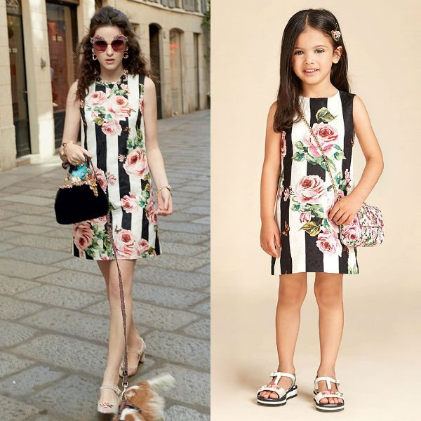 DOLCE & GABBANA Girls Mini Me Love Christmas Theme Rose Black Stripe Dress Spring Summer 2018