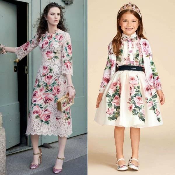 DOLCE & GABBANA Girls Mini Me Love Christmas Theme Rose Lace Shirt Silk Skirt Spring Summer 2018
