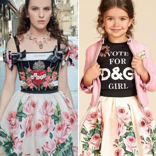 DOLCE & GABBANA Girls Mini Me Love Christmas Theme Rose Silk Skirt Black Heart Shirt Spring Summer 2018