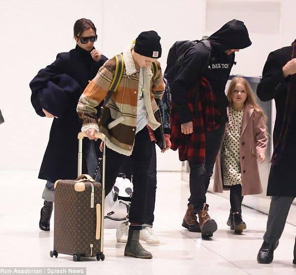 Harper Beckham at JFK Airport Burberry White Polkadot Dress Pink Wool Jacket
