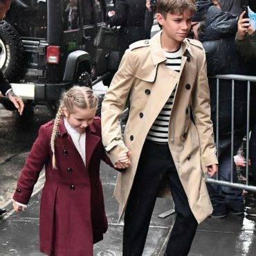 Harper Romeo Beckham Burberry Coats NYFW 2018