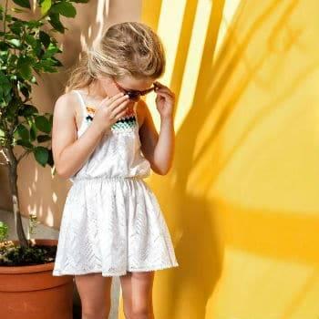 Missoni Girls Mini Me White Knit Sun Dress for Spring Summer 2018