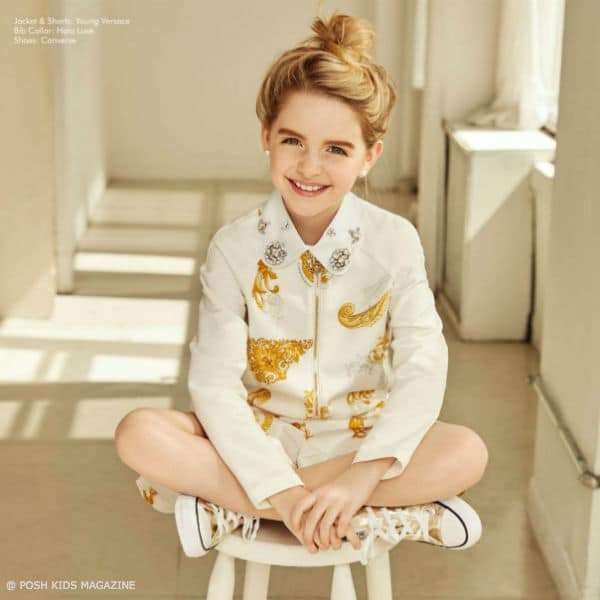 Mckenna Grace Young Versace White Gold Outfit Posh Kids Magazine May June 2017