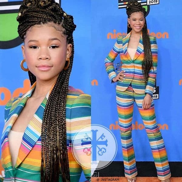 Storm Reid 2018 Nickelodeon Kids' Choice Awards Moschino Colorful Striped Suit