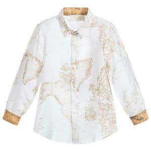ALVIERO MARTINI Boys White Geo Map Linen Shirt