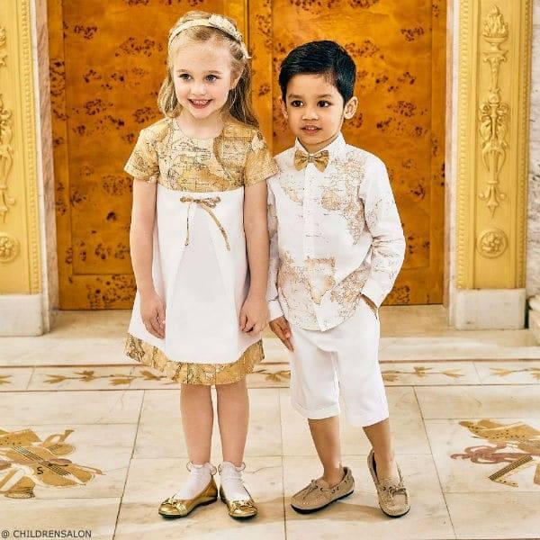 ALVIERO MARTINI Girls White Geo Map Dress Boys White Geo Map Linen Shirt