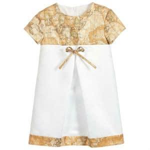 ALVIERO MARTINI Girls White Geo Map Dress