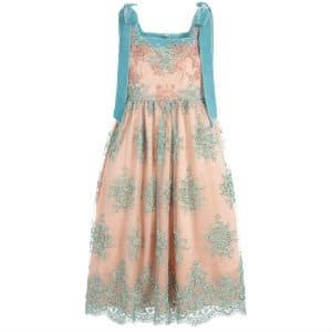 ARISTOCRAT KIDS Pink & Green Long Silk Dress