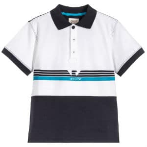 ARMANI JUNIOR Boys Blue Jersey Polo Shirt