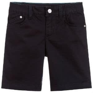 ARMANI JUNIOR Boys Navy Blue Cotton Shorts