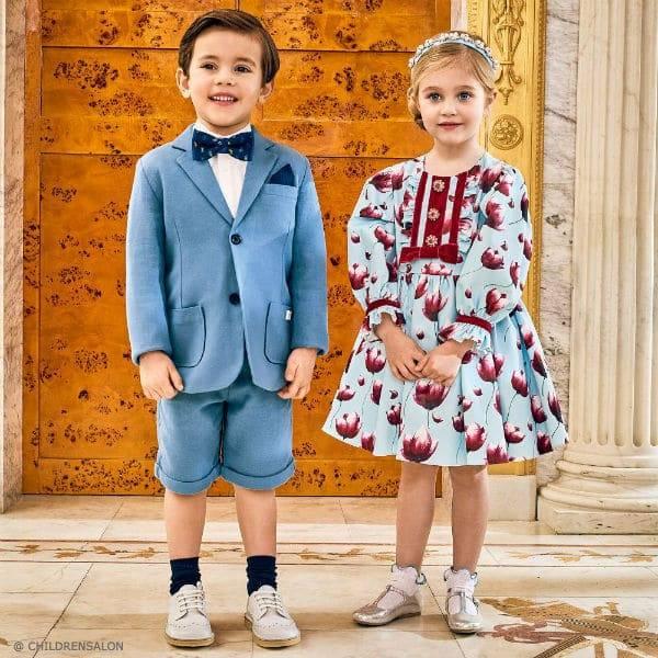 CARREMENT BEAU Blue Cotton Short Suit DAVID CHARLES Girls Blue Satin Floral Dress