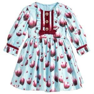 DAVID CHARLES Girls Blue Satin Floral Dress