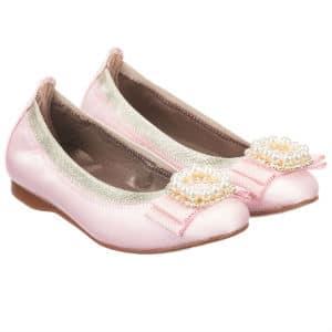 DAVID CHARLES Girls Pink Satin Shoes