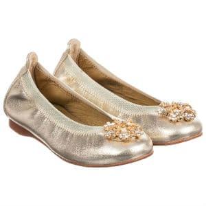 DAVID CHARLES Gold Ballerina Shoes
