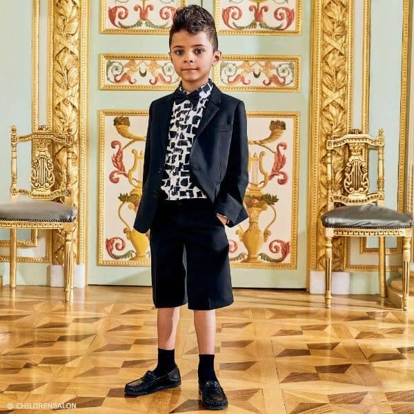 DOLCE & GABBANA Boys Black Wool Shorts Suit Pennellate Shirt
