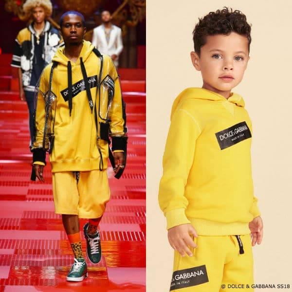 DOLCE & GABBANA Boys Yellow Mini Me Logo Sweatshirt & Shorts