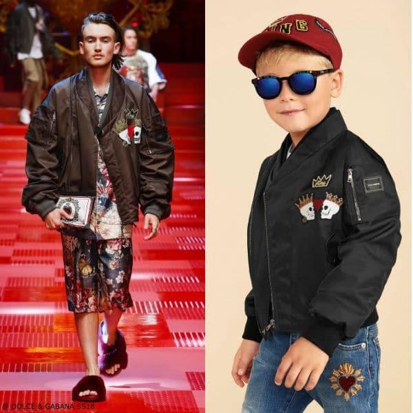 Dolce & Gabbana Boys Mini Me Black Love Skull Bomber Jacket SS18