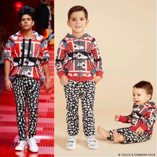 Dolce & Gabbana Boys Mini Me Sweatshirt Runway JR Maschio DG Sneakers Print Black Print pants SS18