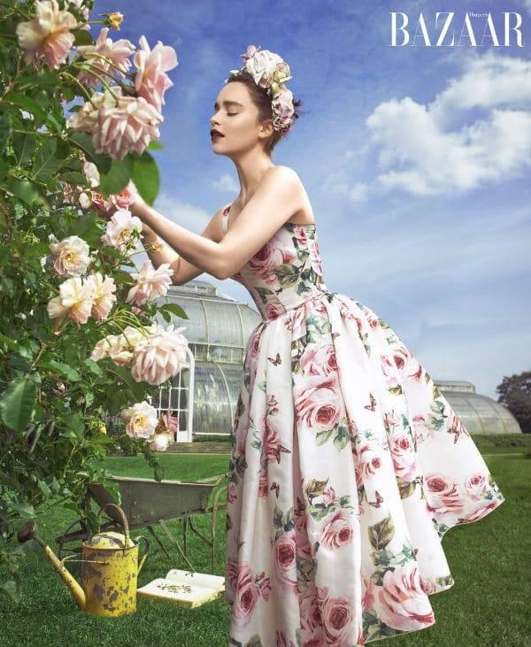 Emilia Clarke Harpers Bazar Cover Dolce & Gabbana Love Christmas Rose Dress December 2017