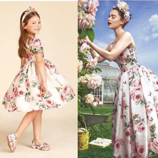 Emilia Clarke Harpers Bazar DOLCE & GABBANA Girls Mini Me Rose Farfalle Silk Dress