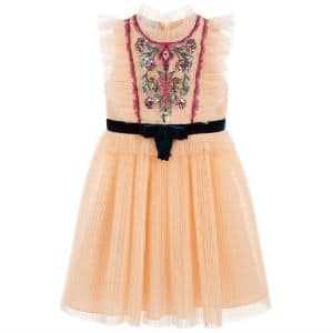 GUCCI Girls Embroidered Tulle Dress