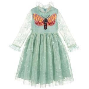 GUCCI Girls Pale Green Lace Dress