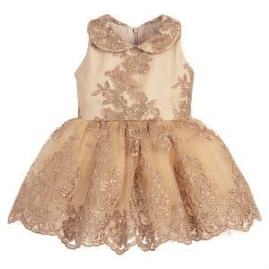 JUNONA Baby Girls Gold Lace Dress Set