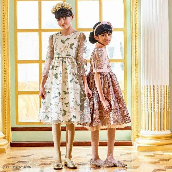 JUNONA Girls Pink Floral Tulle Dress Graci Gold Embroidered Dress