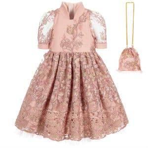JUNONA Girls Pink Floral Tulle Dress