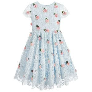 LESY LUXURY Blue Lace & Floral Dress