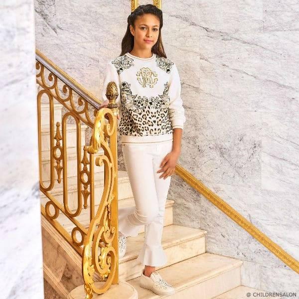 ROBERTO CAVALLI Girls Ivory Logo Sweatshirt White Pants