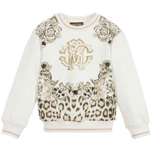 ROBERTO CAVALLI Girls Ivory Logo Sweatshirt