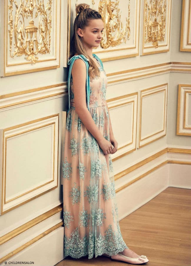 The Wedding Edit by Childrensalon - ARISTOCRAT KIDS Pink & Green Long Silk Dress