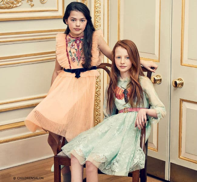 The Wedding Edit by Childrensalon - GUCCI Girls Embroidered Tulle & Green Lace Dresses