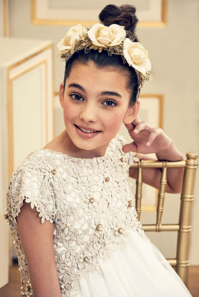 The Wedding Edit by Childrensalon - Lesy Ivory Gold Dress GRACI Ivory & Gold Floral Hairband