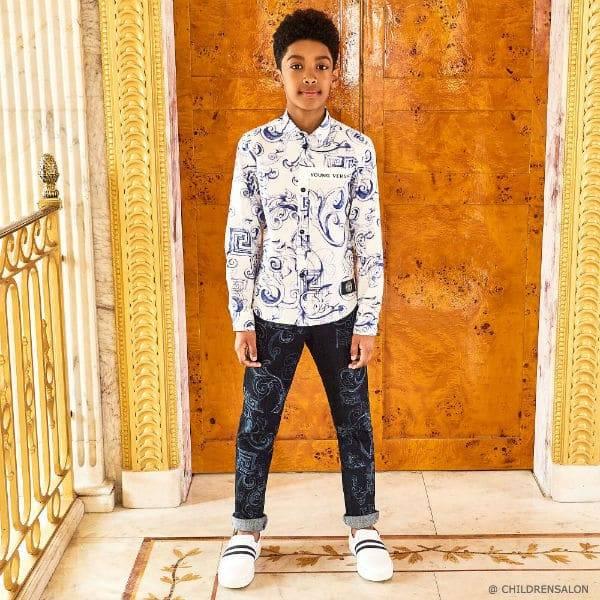 YOUNG VERSACE Blue Baroque Cotton Shirt Baroque Print Jeans