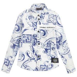 YOUNG VERSACE Blue Baroque Cotton Shirt