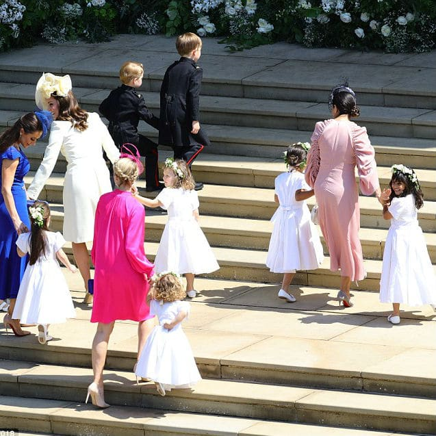 Dutchess of Cambridge with Princess Charlotte Prince George Givenchy Bridesmaid Dress Suit