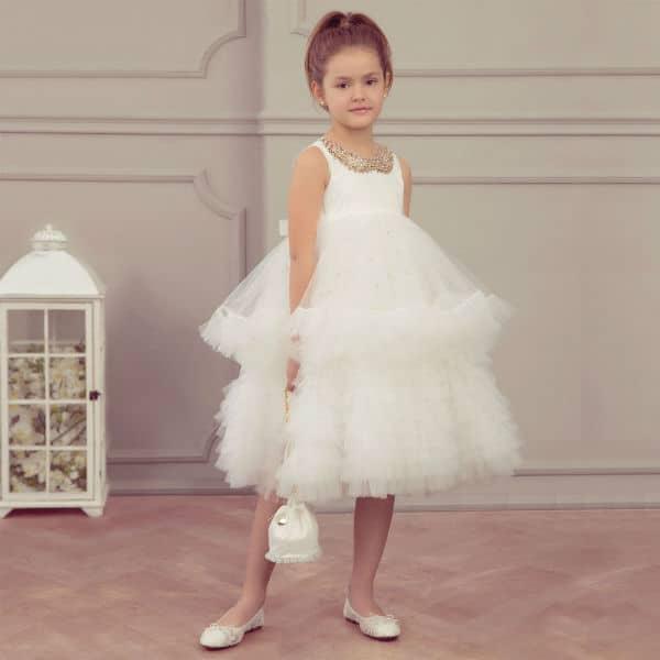 JUNONA White Tulle flower girl Dress & Handbag