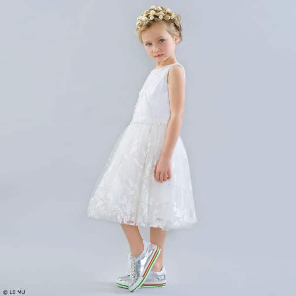 LE MU White Embroidered Pearl Flower Girl Dress