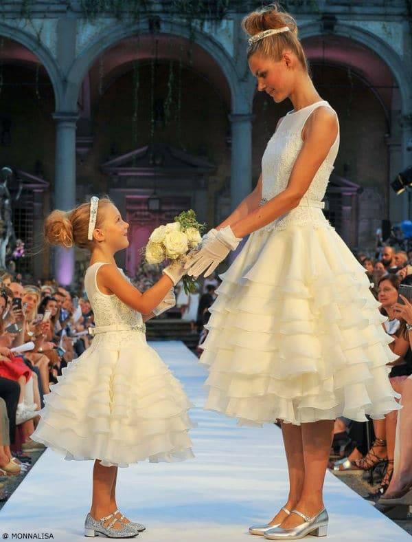 Monnalisa White Mommy and Me Flower Girl Dress