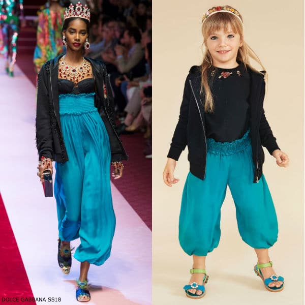 Dolce Gabbana Girls Mini Me Blue Harem Pants SS18