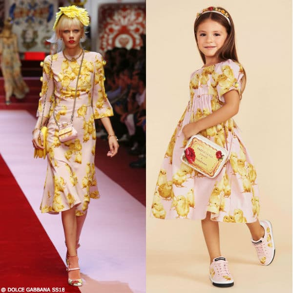 Dolce Gabbana Girls Mini Me Pink Chic Pattern Dress SS18