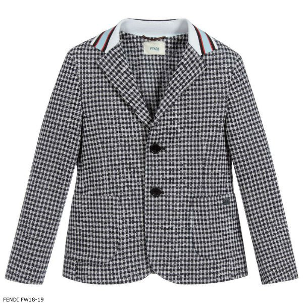 North West - FENDI Blue & White Check Blazer