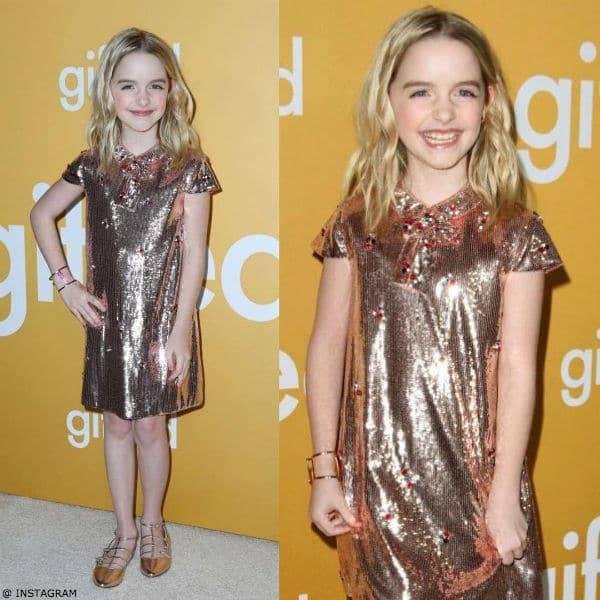 MCKENNA GRACE – GUCCI PINK GOLD SEQUIN LADYBUG SHIFT DRESS