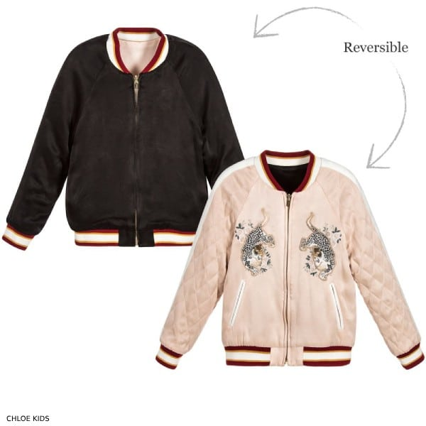 Chloe Girls Black Pink Reversible Mini Me Tiger Jacket