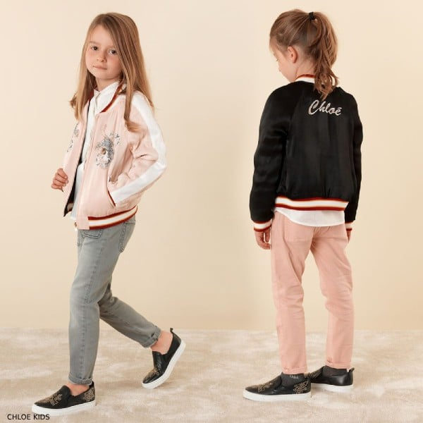 Chloe Girls Mini Me Black Pink Reversible Tiger Bomber Jacket